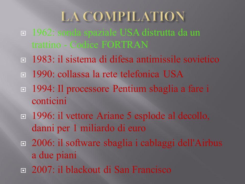 LA COMPILATION 1962: sonda spaziale USA distrutta da un trattino - Codice FORTRAN. 1983: il sistema di difesa antimissile sovietico.