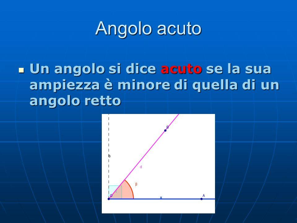 Angolo acuto Un angolo si dice acuto se la sua ampiezza è minore di quella di un angolo retto