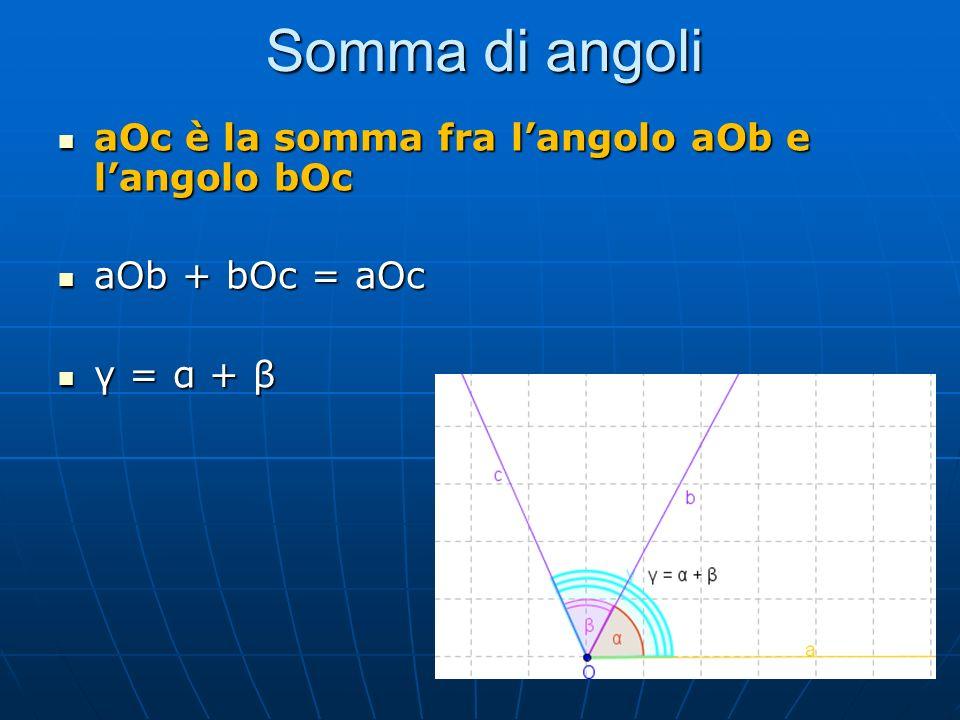 Somma di angoli aOc è la somma fra l'angolo aOb e l'angolo bOc