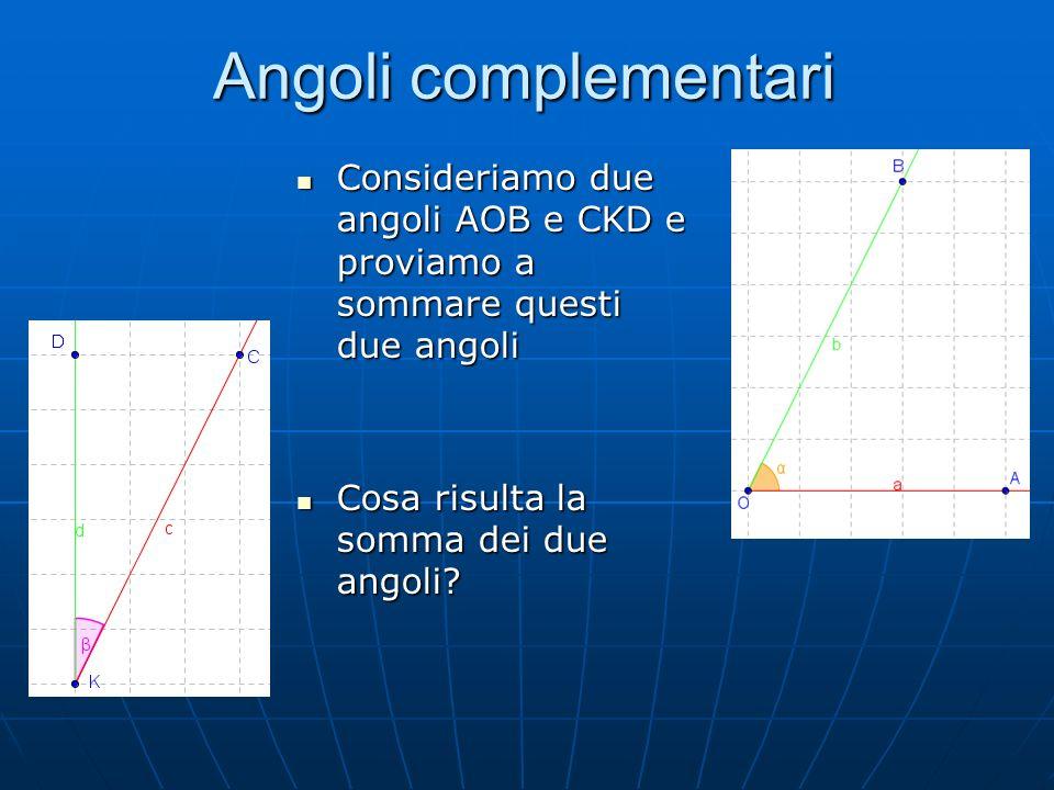 Angoli complementari Consideriamo due angoli AOB e CKD e proviamo a sommare questi due angoli.