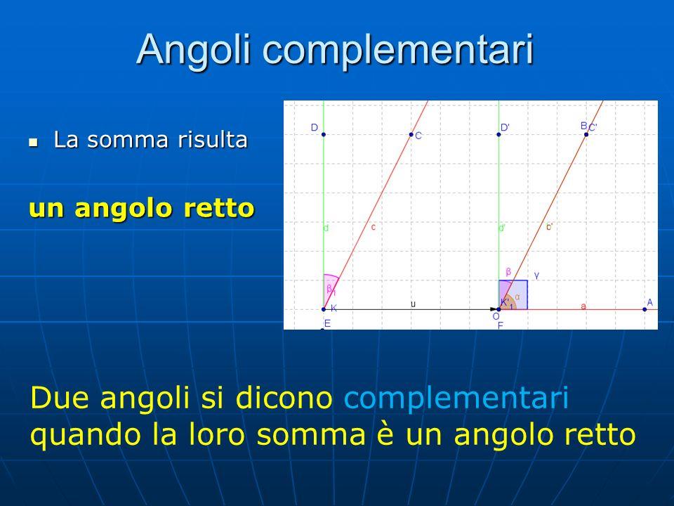Angoli complementari La somma risulta. un angolo retto.