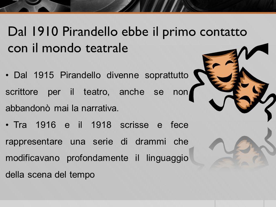 Dal 1910 Pirandello ebbe il primo contatto con il mondo teatrale