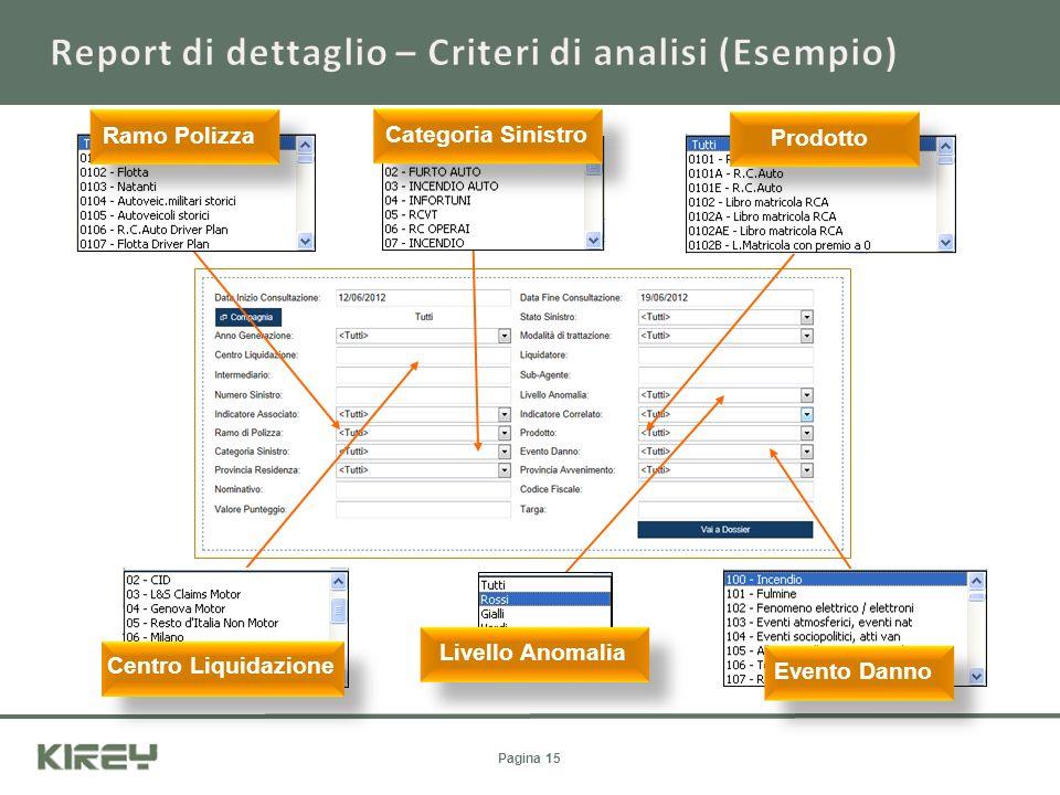 Report di dettaglio – Criteri di analisi (Esempio)
