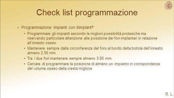 Check list programmazione