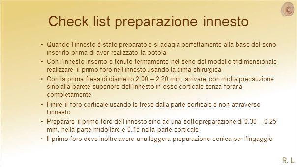 Check list preparazione innesto