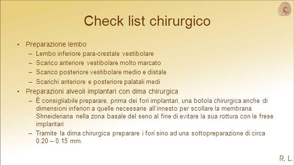 Check list chirurgico Preparazione lembo