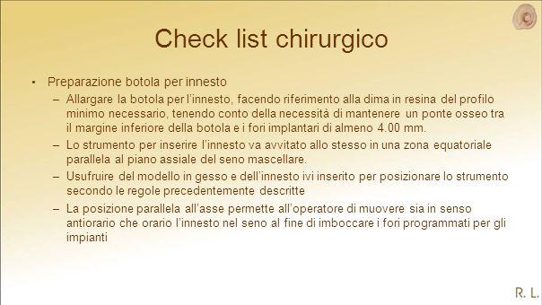 Check list chirurgico Preparazione botola per innesto