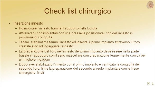 Check list chirurgico Inserzione innesto