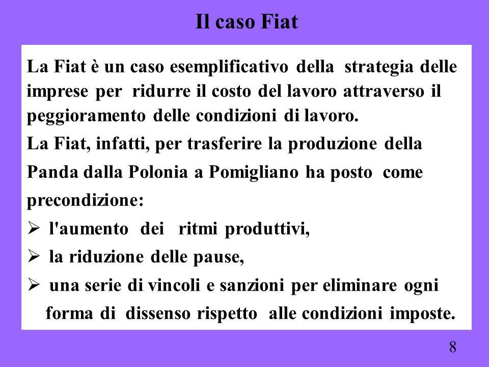 Il caso Fiat La Fiat è un caso esemplificativo della strategia delle