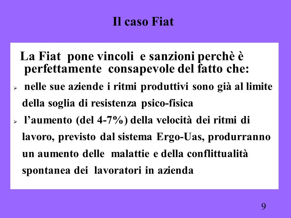 Il caso Fiat La Fiat pone vincoli e sanzioni perchè è perfettamente consapevole del fatto che: