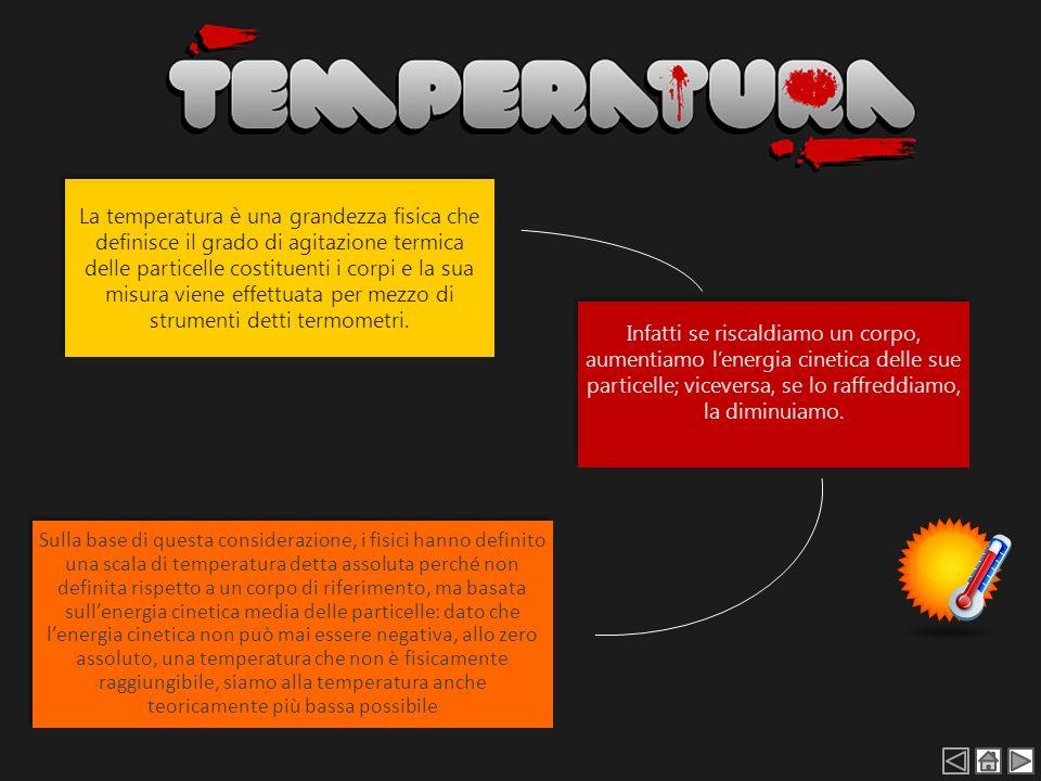 La temperatura è una grandezza fisica che definisce il grado di agitazione termica delle particelle costituenti i corpi e la sua misura viene effettuata per mezzo di strumenti detti termometri.