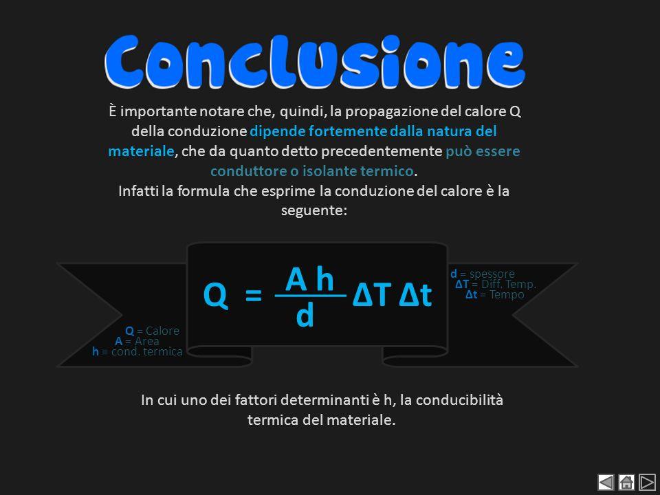 Infatti la formula che esprime la conduzione del calore è la seguente: