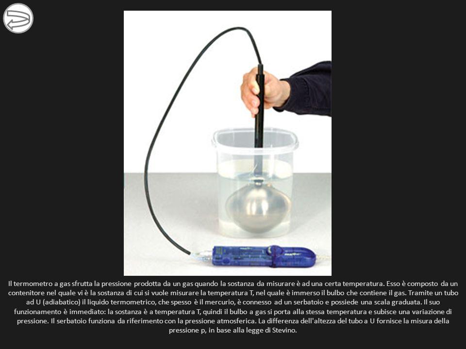Il termometro a gas sfrutta la pressione prodotta da un gas quando la sostanza da misurare è ad una certa temperatura.