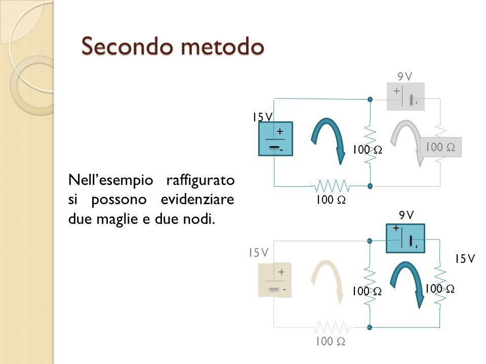 Secondo metodo 100  15 V. + - 9 V. Nell'esempio raffigurato si possono evidenziare due maglie e due nodi.
