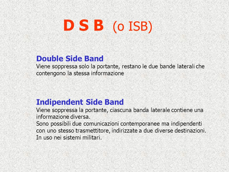 D S B (o ISB) Double Side Band Indipendent Side Band