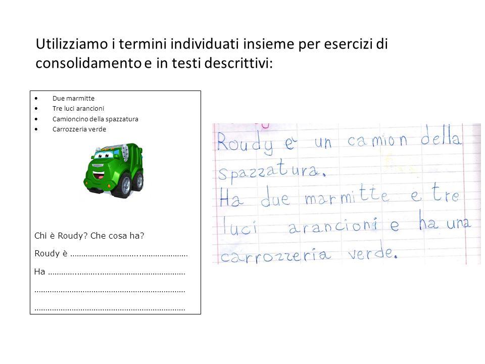 Utilizziamo i termini individuati insieme per esercizi di consolidamento e in testi descrittivi:
