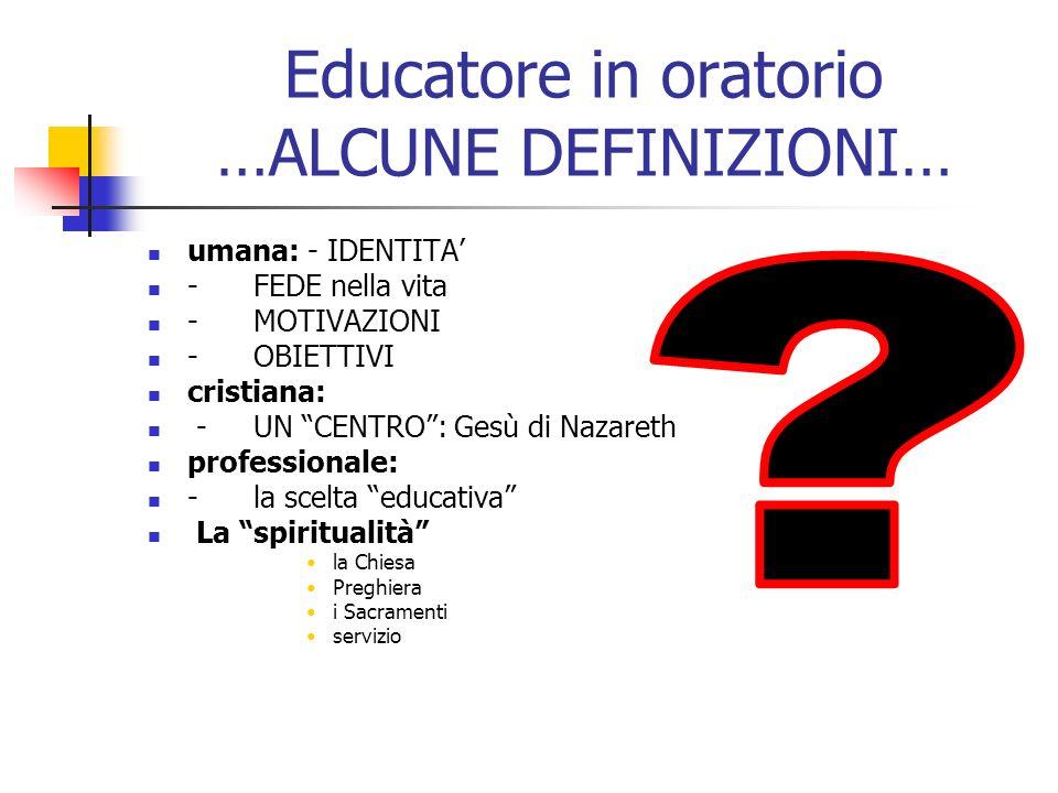 Educatore in oratorio …ALCUNE DEFINIZIONI…