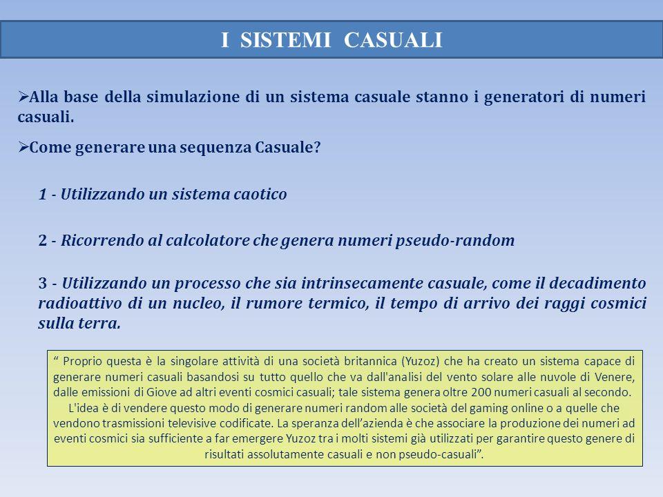 I SISTEMI CASUALI Alla base della simulazione di un sistema casuale stanno i generatori di numeri casuali.