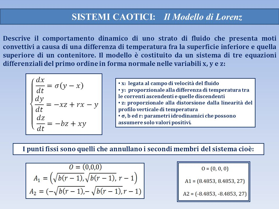 SISTEMI CAOTICI: Il Modello di Lorenz