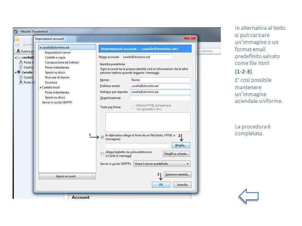 In alternativa al testo si può caricare un'immagine o un format email predefinito salvato come file html