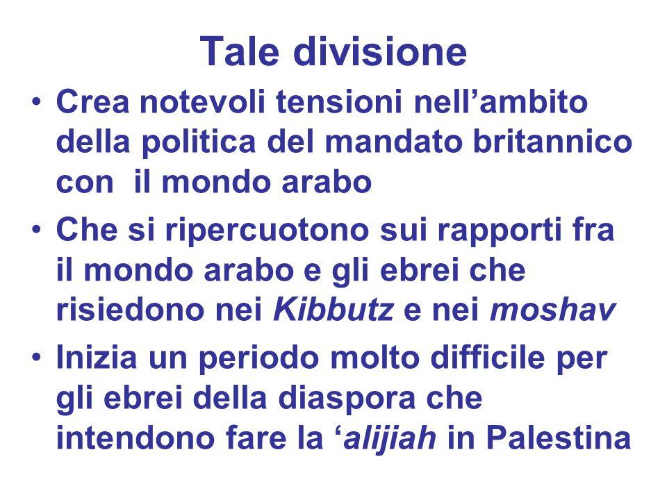 Tale divisioneCrea notevoli tensioni nell'ambito della politica del mandato britannico con il mondo arabo.