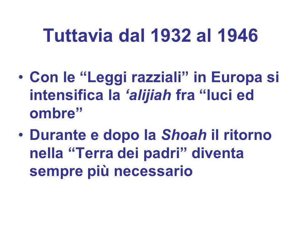 Tuttavia dal 1932 al 1946Con le Leggi razziali in Europa si intensifica la 'alijiah fra luci ed ombre