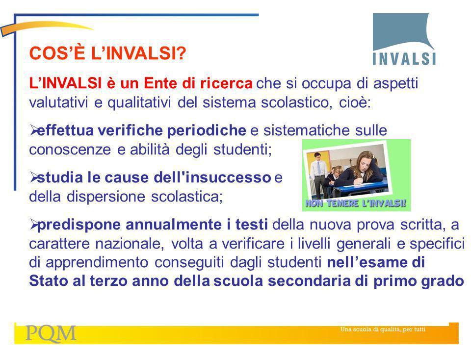 COS'È L'INVALSI L'INVALSI è un Ente di ricerca che si occupa di aspetti valutativi e qualitativi del sistema scolastico, cioè: