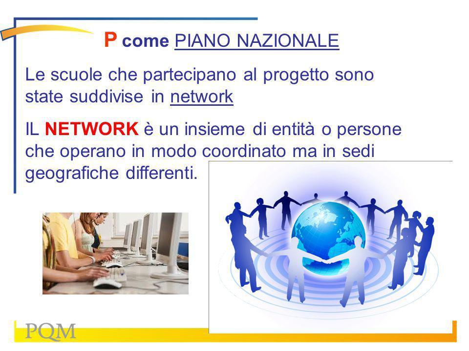 P come PIANO NAZIONALE Le scuole che partecipano al progetto sono state suddivise in network.