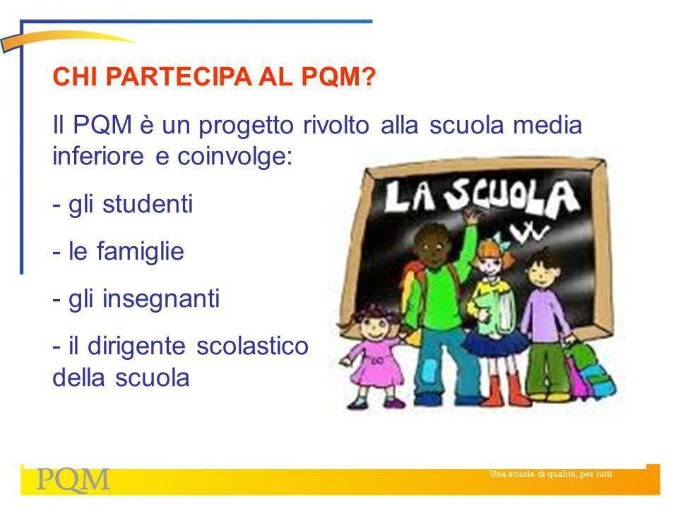 CHI PARTECIPA AL PQM Il PQM è un progetto rivolto alla scuola media inferiore e coinvolge: gli studenti.