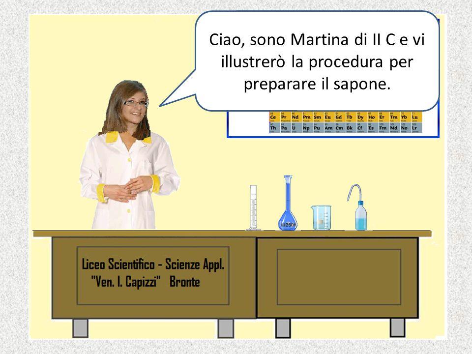 Ciao, sono Martina di II C e vi illustrerò la procedura per preparare il sapone.
