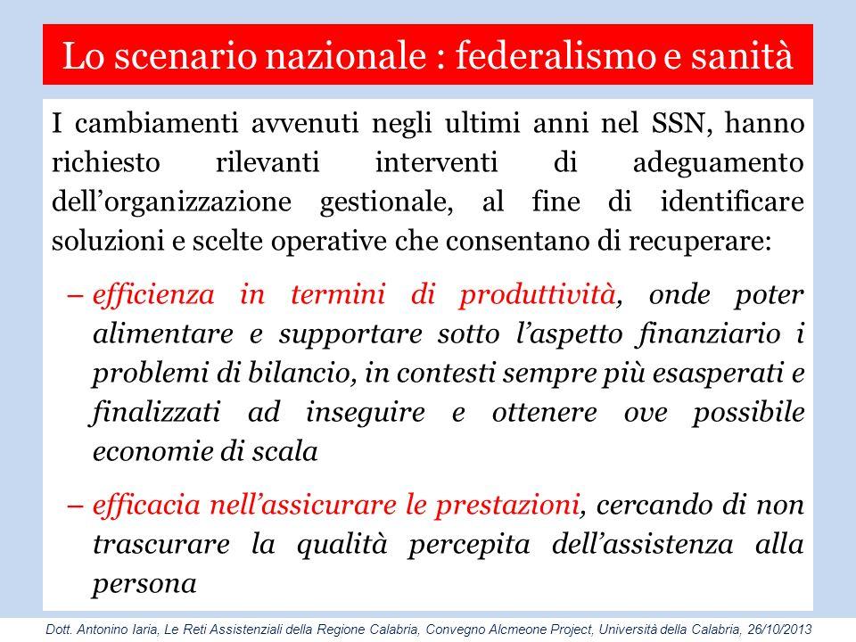 Lo scenario nazionale : federalismo e sanità