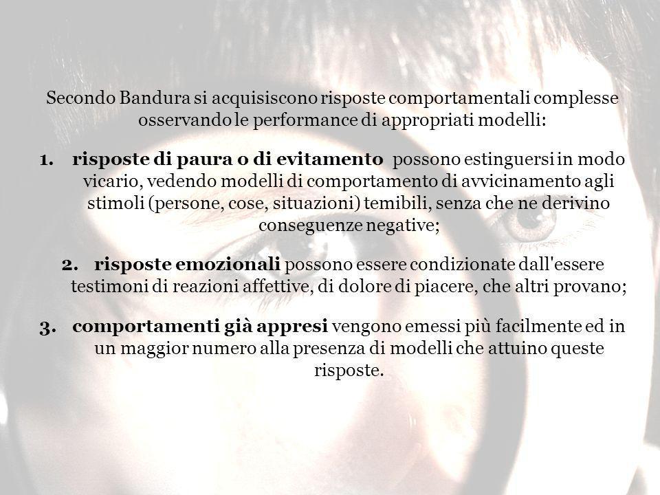 Secondo Bandura si acquisiscono risposte comportamentali complesse osservando le performance di appropriati modelli:
