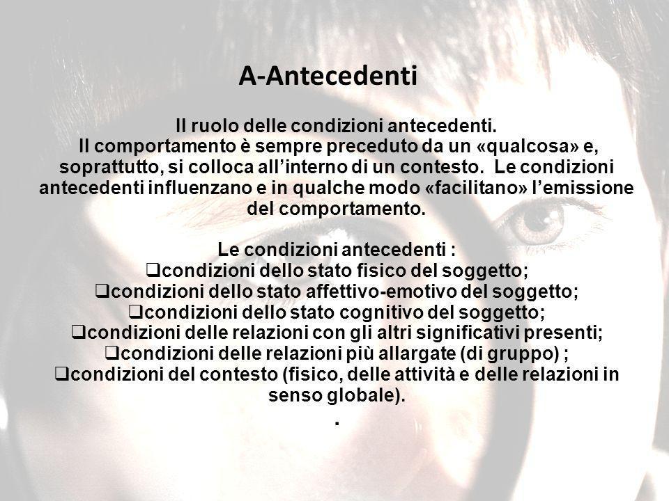 A-Antecedenti . Il ruolo delle condizioni antecedenti.