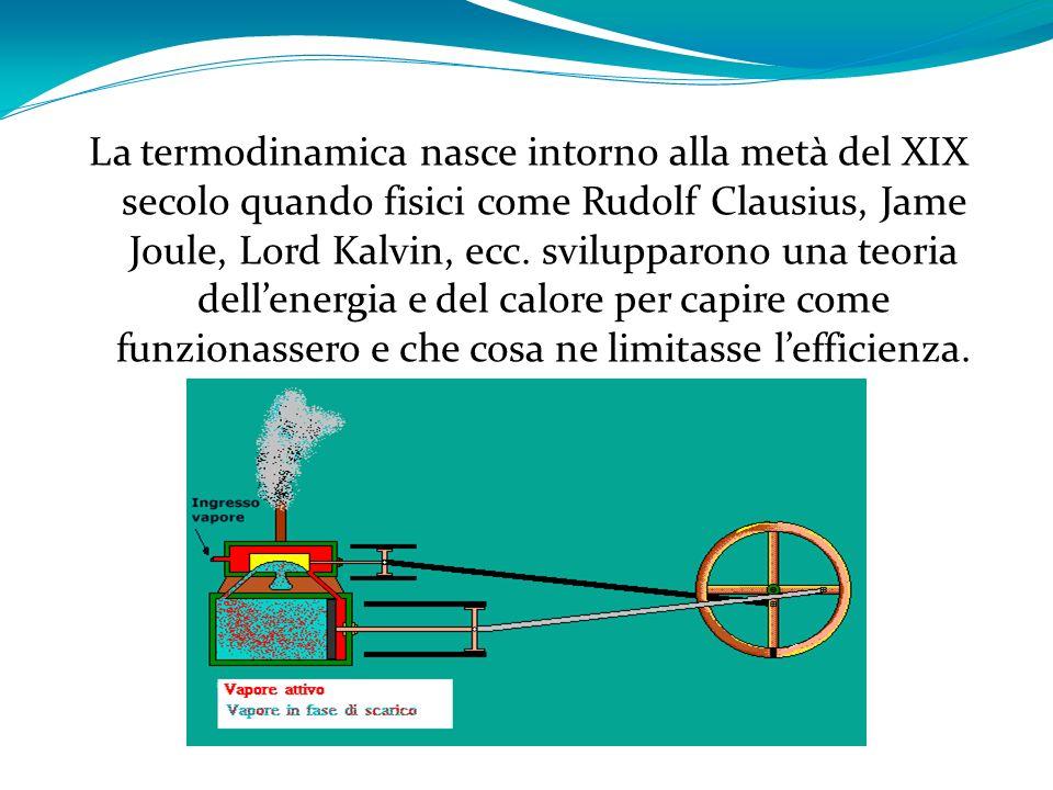 La termodinamica nasce intorno alla metà del XIX secolo quando fisici come Rudolf Clausius, Jame Joule, Lord Kalvin, ecc.