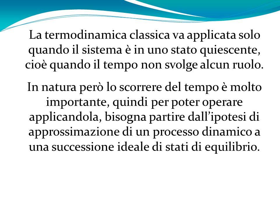 La termodinamica classica va applicata solo quando il sistema è in uno stato quiescente, cioè quando il tempo non svolge alcun ruolo.