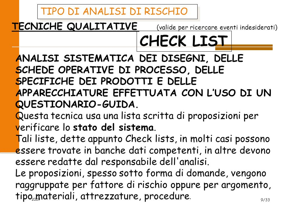 CHECK LIST TIPO DI ANALISI DI RISCHIO