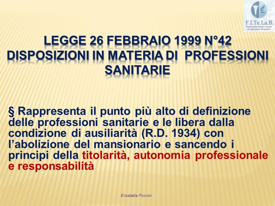LEGGE 26 FEBBRAIO 1999 n°42 disposizioni in materia di professioni sanitarie