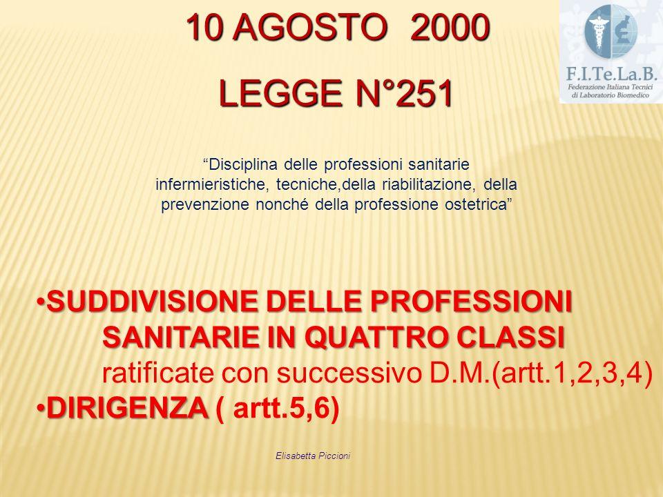 10 AGOSTO 2000 LEGGE N°251. Disciplina delle professioni sanitarie. infermieristiche, tecniche,della riabilitazione, della.