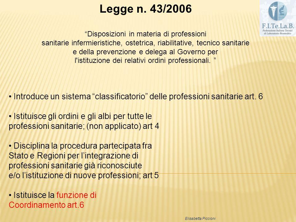 Legge n. 43/2006 Disposizioni in materia di professioni. sanitarie infermieristiche, ostetrica, riabilitative, tecnico sanitarie.