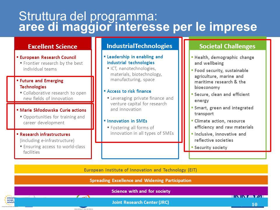Struttura del programma: aree di maggior interesse per le imprese