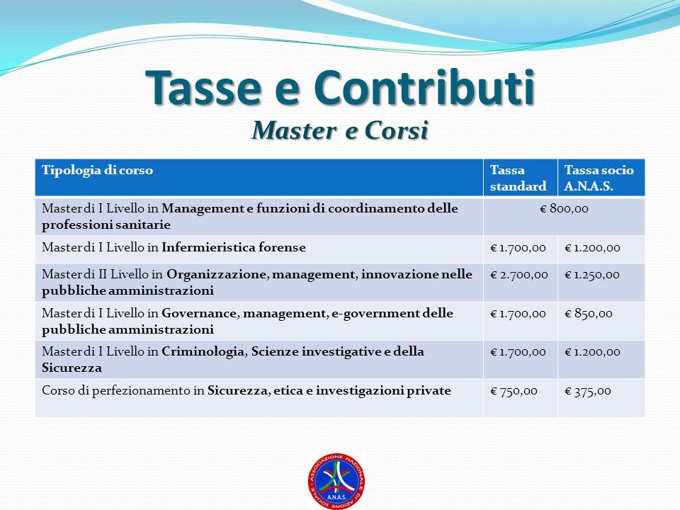 Tasse e Contributi Master e Corsi Tipologia di corso Tassa standard