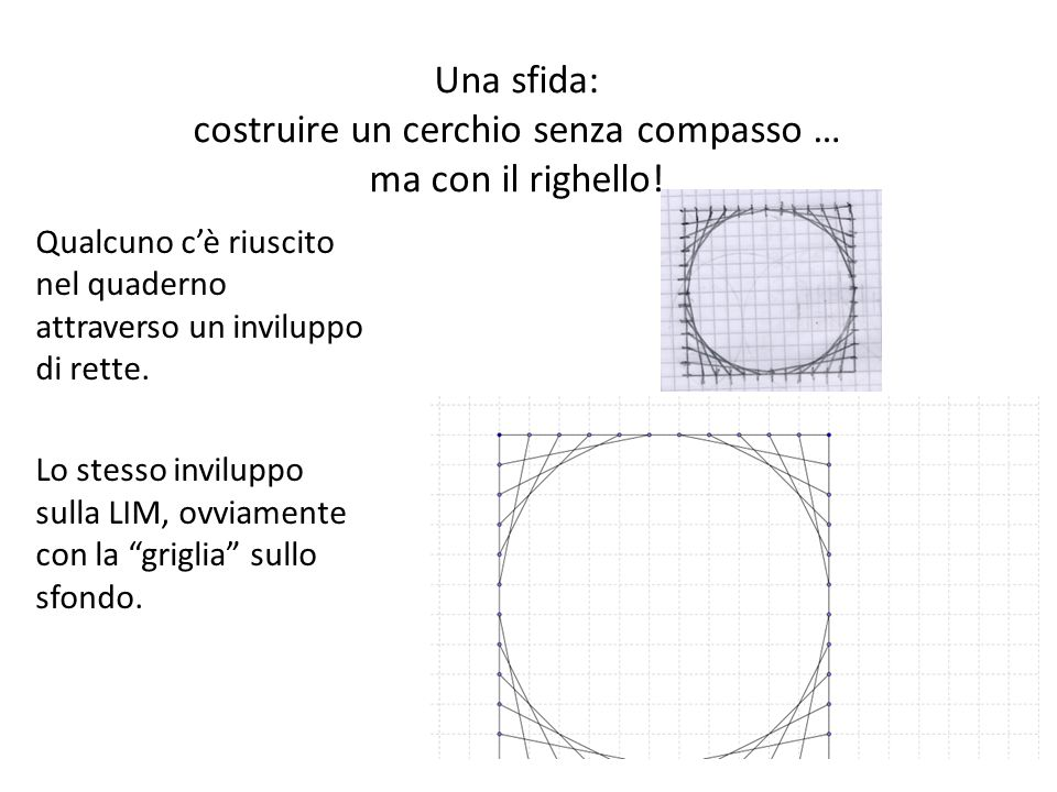 Una sfida: costruire un cerchio senza compasso … ma con il righello!