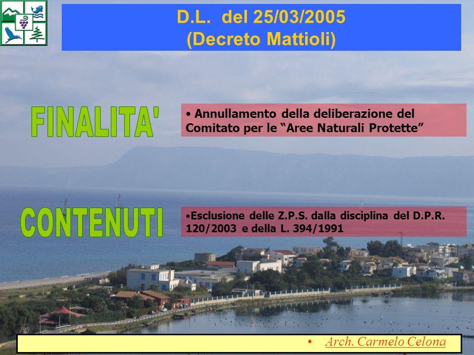 D.L. del 25/03/2005 (Decreto Mattioli)