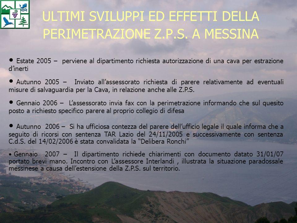 ULTIMI SVILUPPI ED EFFETTI DELLA PERIMETRAZIONE Z.P.S. A MESSINA