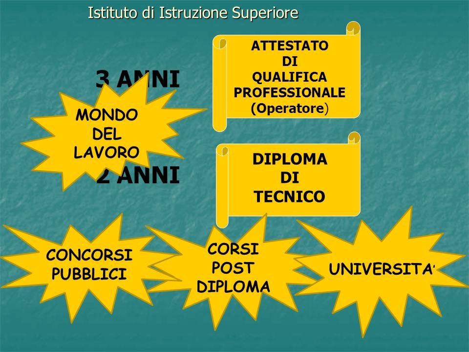 3 ANNI + 2 ANNI Istituto di Istruzione Superiore MONDO DEL LAVORO