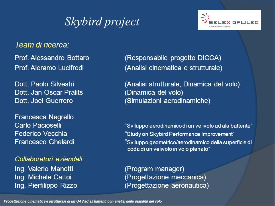 Skybird project Team di ricerca: