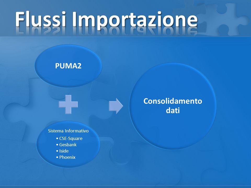 Flussi Importazione Consolidamento dati PUMA2 Sistema Informativo