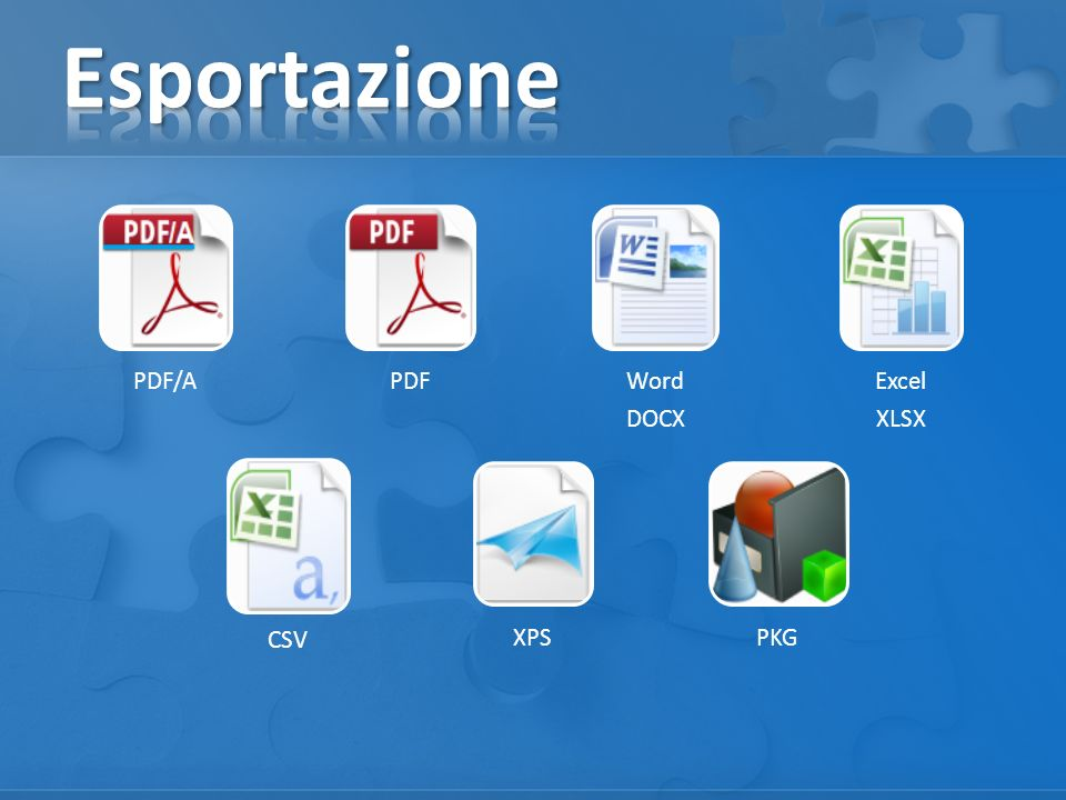 Esportazione PDF/A PDF Word DOCX Excel XLSX CSV XPS PKG