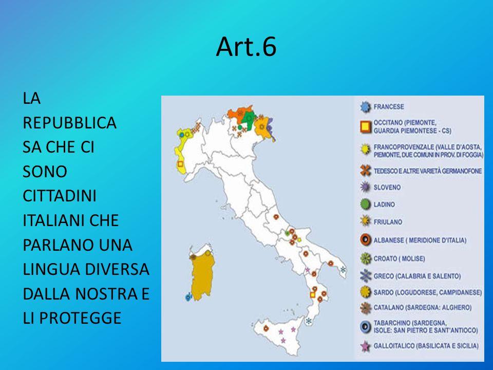 Art.6 LA REPUBBLICA SA CHE CI SONO CITTADINI ITALIANI CHE PARLANO UNA LINGUA DIVERSA DALLA NOSTRA E LI PROTEGGE