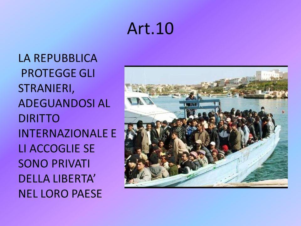 Art.10 LA REPUBBLICA PROTEGGE GLI STRANIERI, ADEGUANDOSI AL DIRITTO INTERNAZIONALE E LI ACCOGLIE SE SONO PRIVATI DELLA LIBERTA' NEL LORO PAESE
